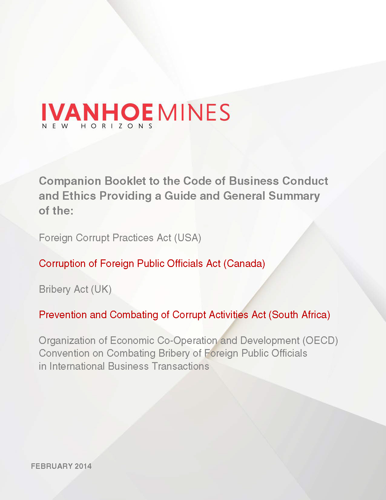Companion Booklet to the Code  of Business Conduct and Ethics